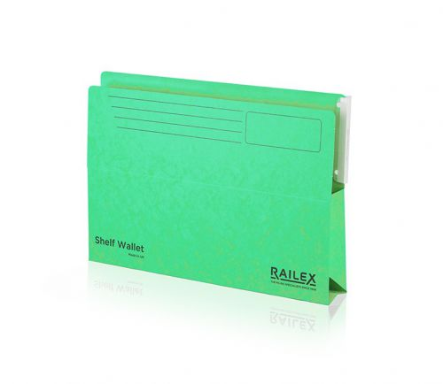 Railex Shelf Wallet with Tab SW5 Foolscap 350gsm Emerald PK25