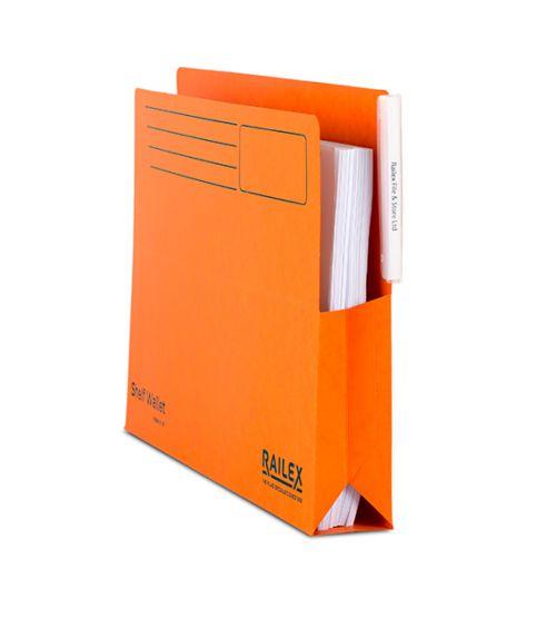 Railex Shelf Wallet with Tab SW5 Foolscap 350gsm Mandarin PK25