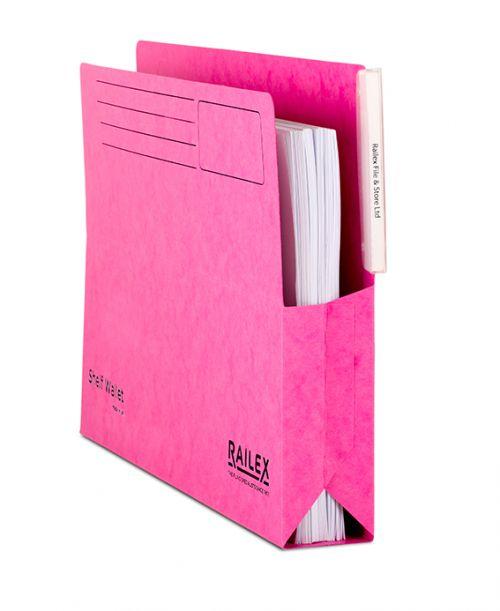Railex Shelf Wallet with Tab SW5 Foolscap 350gsm Cerise PK25