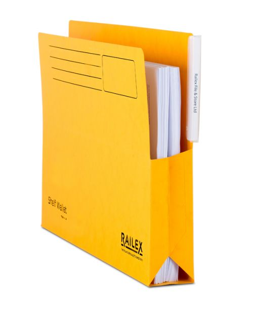 Railex Shelf Wallet with Tab SW5 Foolscap 350gsm Gold PK25