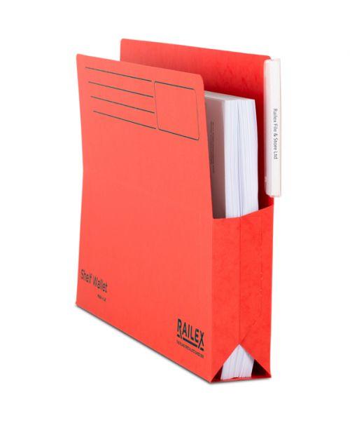 Railex Shelf Wallet with Tab SW5 Foolscap 350gsm Ruby PK25