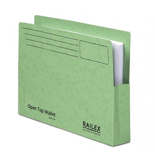 Railex Open Top Wallet OT5 Foolscap 350gsm Emerald PK25