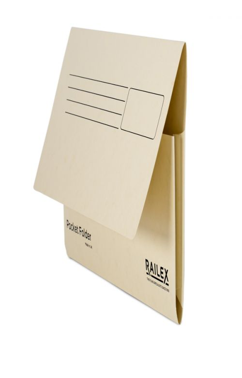 Railex Pocket Folder PF7 Foolscap 350gsm Ivory PK25