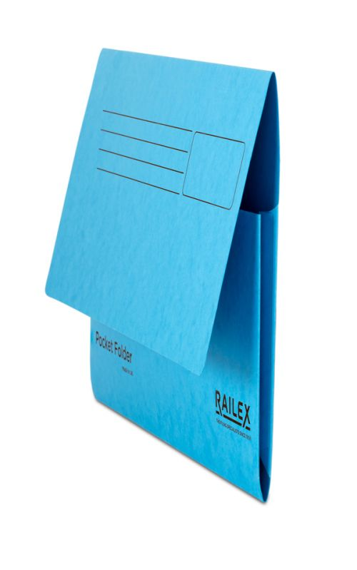 Railex Pocket Folder PF7 Foolscap 350gsm Turquoise PK25
