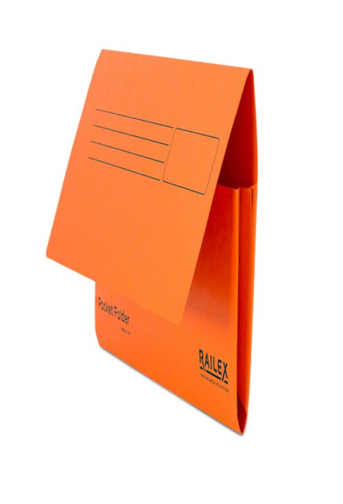 Railex Pocket Folder PF7 Foolscap 350gsm Mandarin PK25