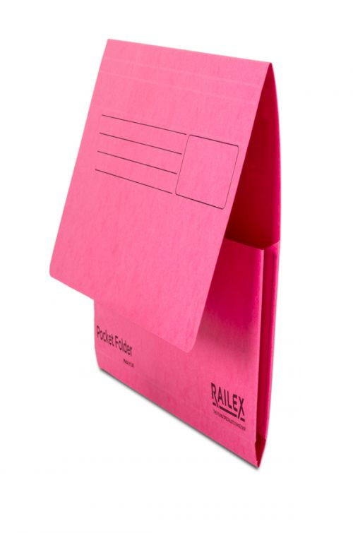 Railex Pocket Folder PF7 Foolscap 350gsm Cerise PK25