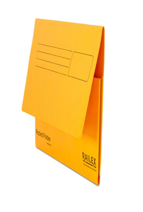 Railex Pocket Folder PF7 Foolscap 350gsm Gold  PK25