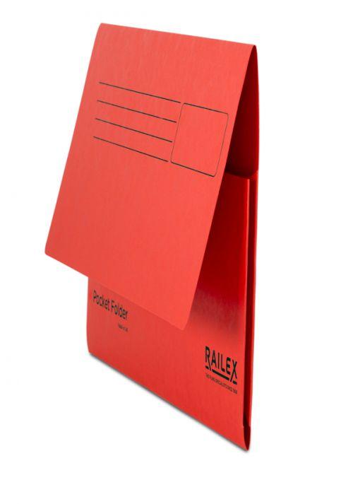 Railex Pocket Folder PF7 Foolscap 350gsm Ruby PK25