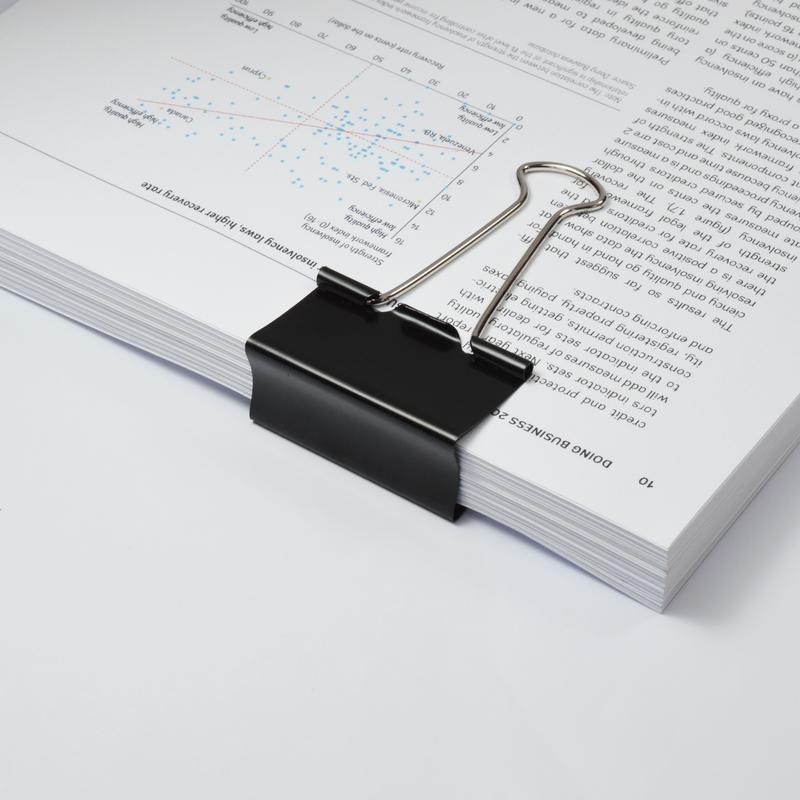Value Foldback Clips 50mm Black PK10