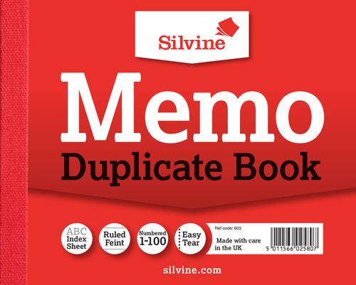 Silvine Duplicate Memo Book 102x127mm (Pack of 12) 603