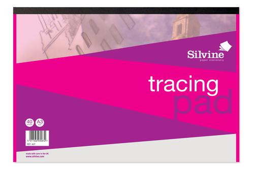 Silvine A3 Tracing Pad 63gsm 40 Sheets (Pack 5)