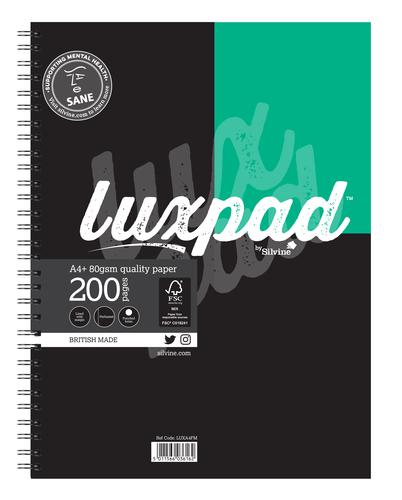 Silvine Luxpad A4 Plus Wirebound Flexi Cover Notebook Ruled 200 Pages Assorted Colours (Pack 3)