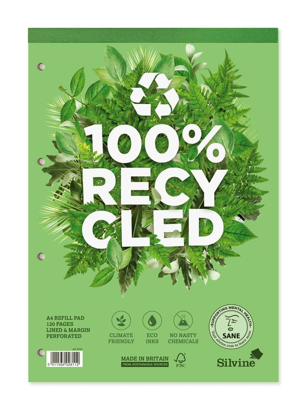Refill Pads Silvine Premium A4 Refill Pad Recycled Ruled 120 Pages Green (Pack 5)