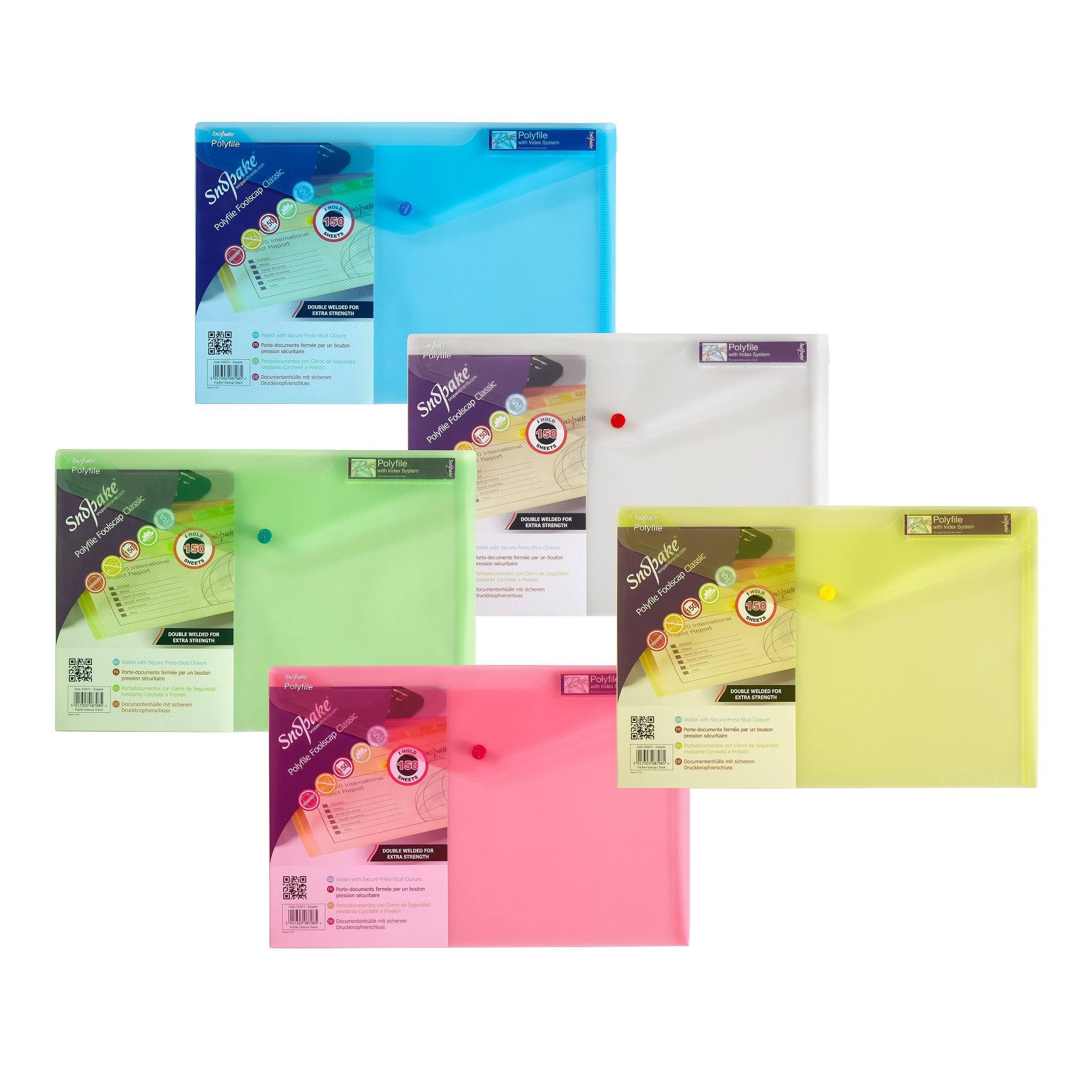 Snopake Polyfile Wallet File Foolscap Classic Astd PK5