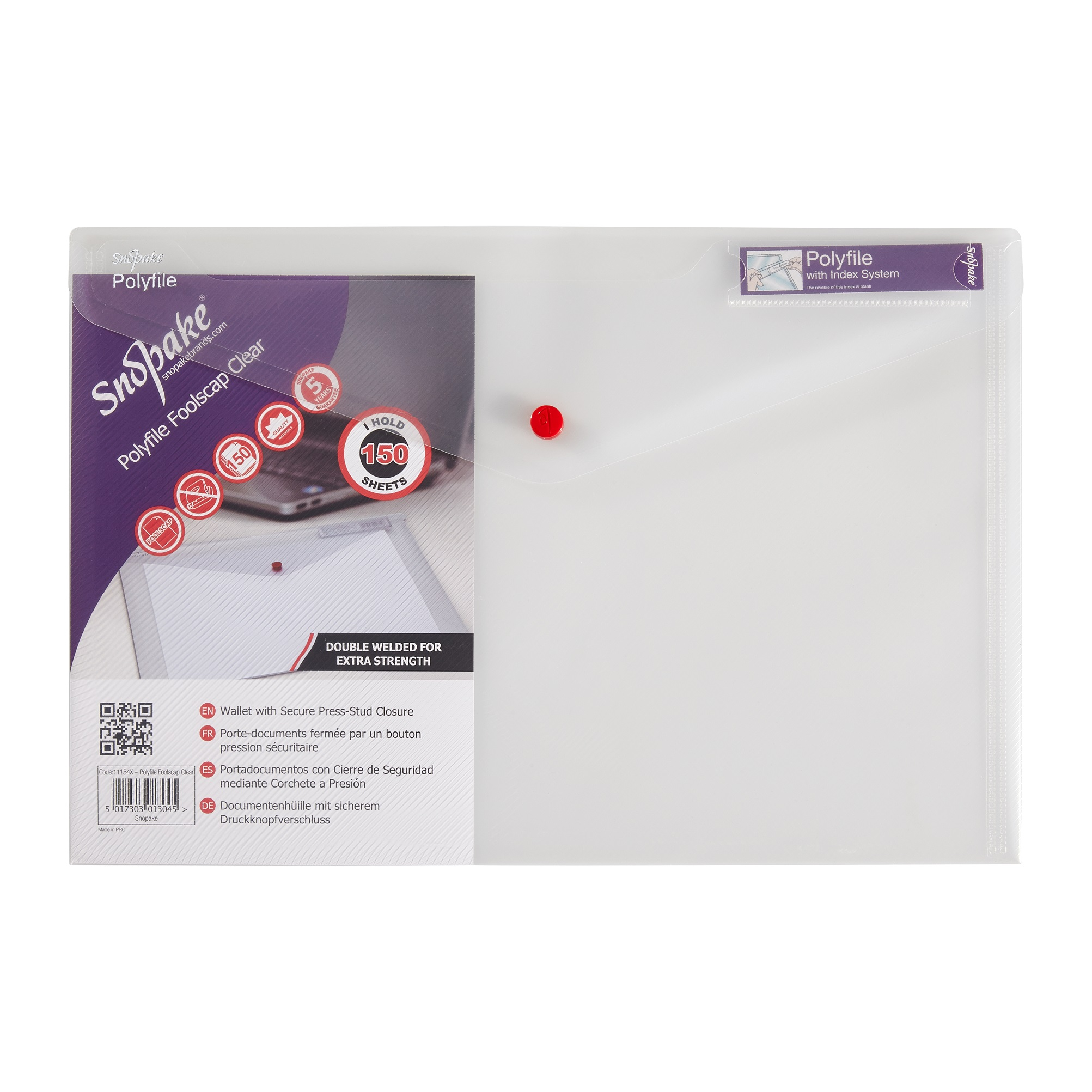 Snopake Foolscap Clear Polyfile Classic Wallet (Pack of 5) 11154X