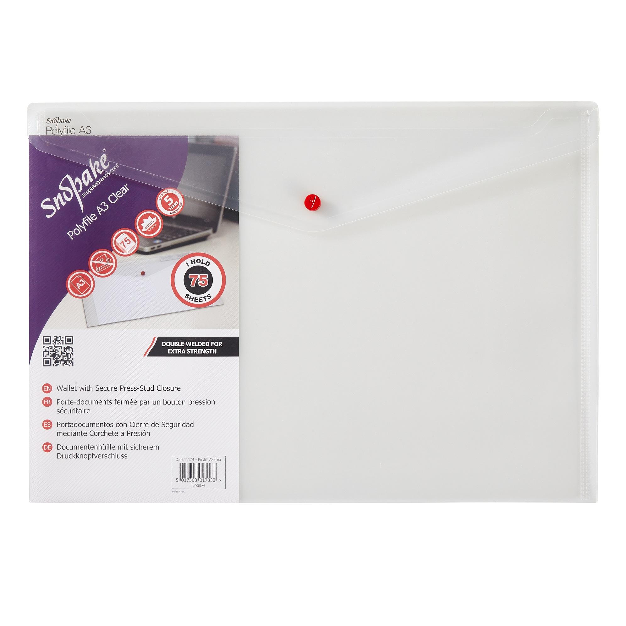 Snopake Polyfile Wallet File A3 Clear PK5