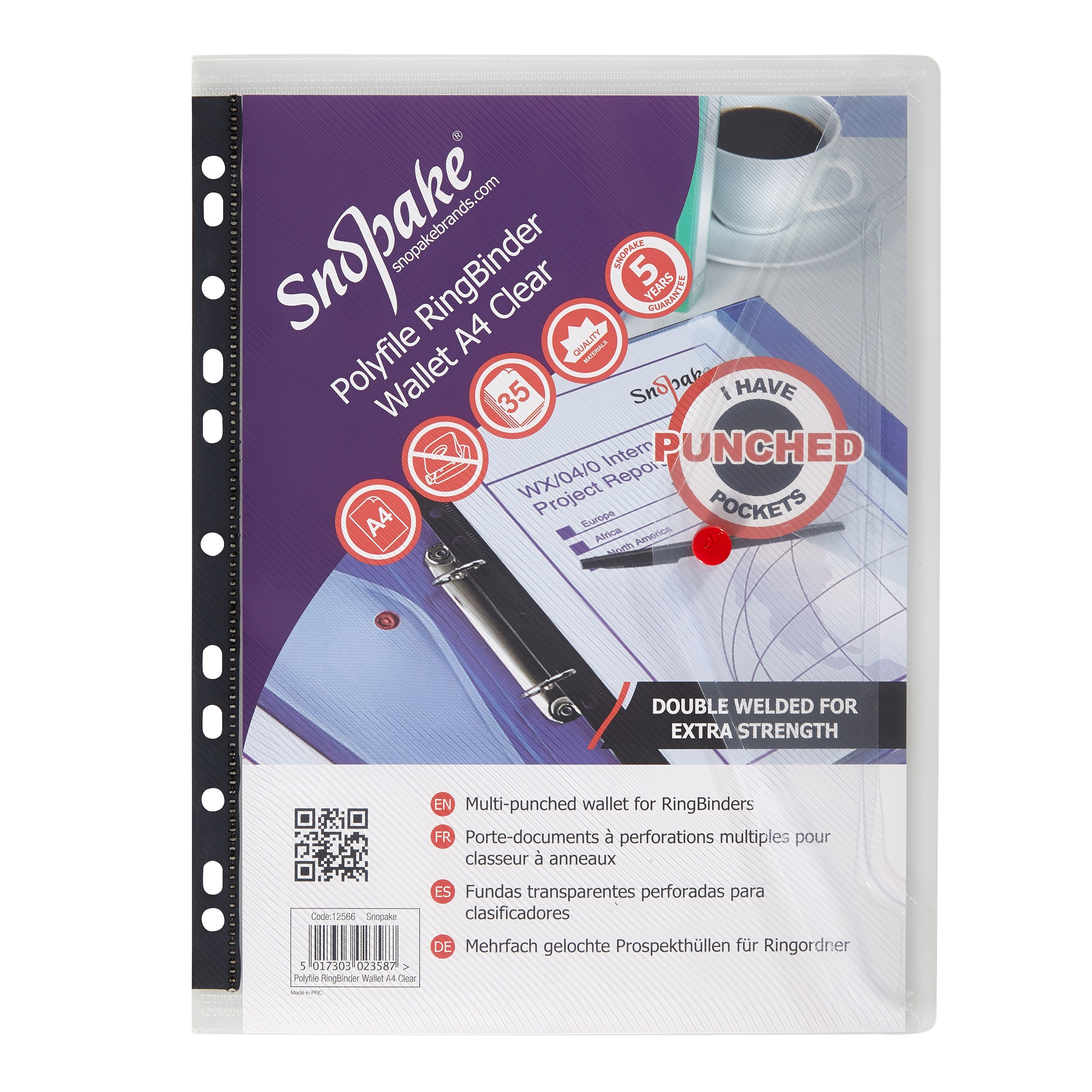 Snopake Polyfile Ring Binder Wallet A4 Clear (Pack of 5) 12566