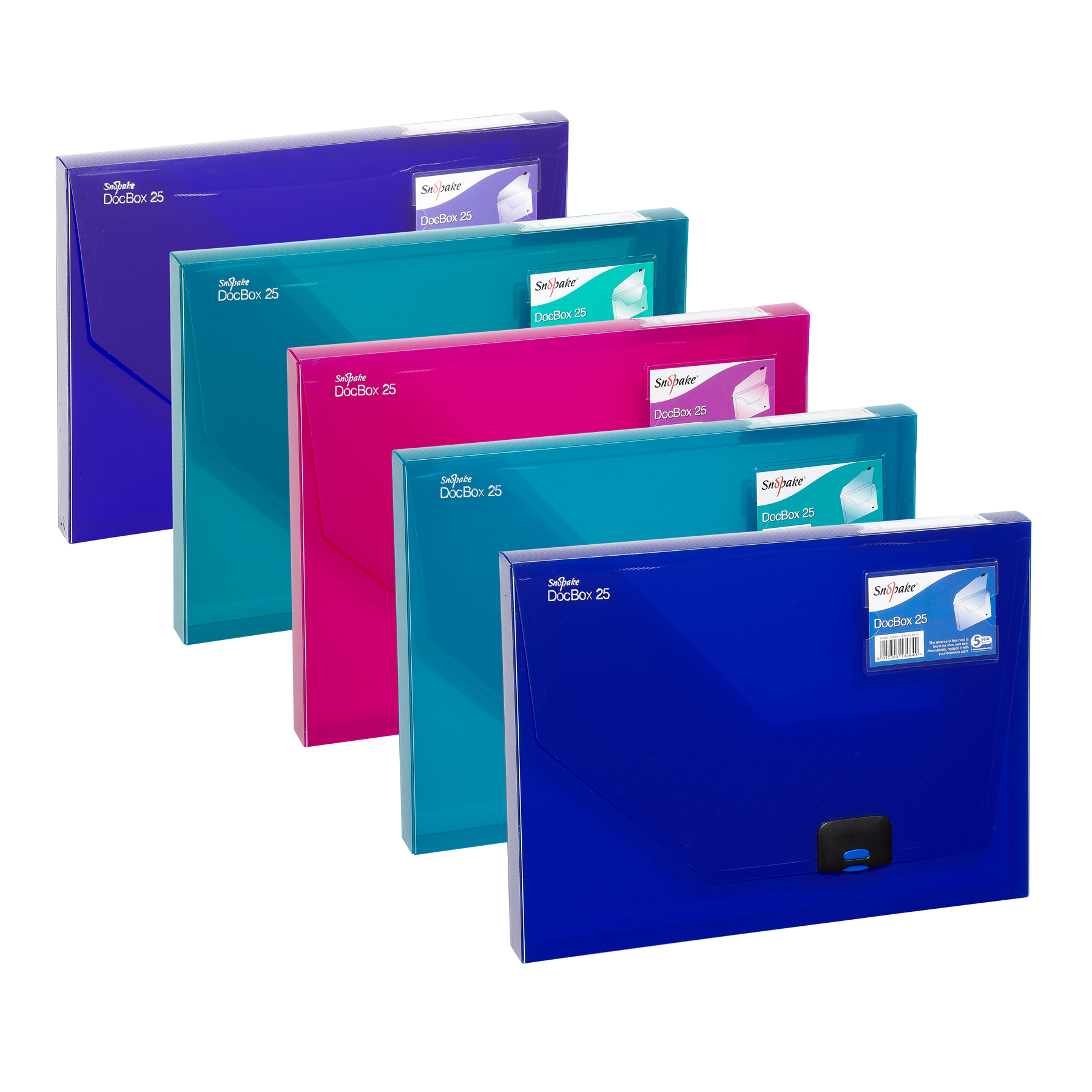 Snopake 25mm Document Box A4 Electra Assorted (Pack of 5) 14832