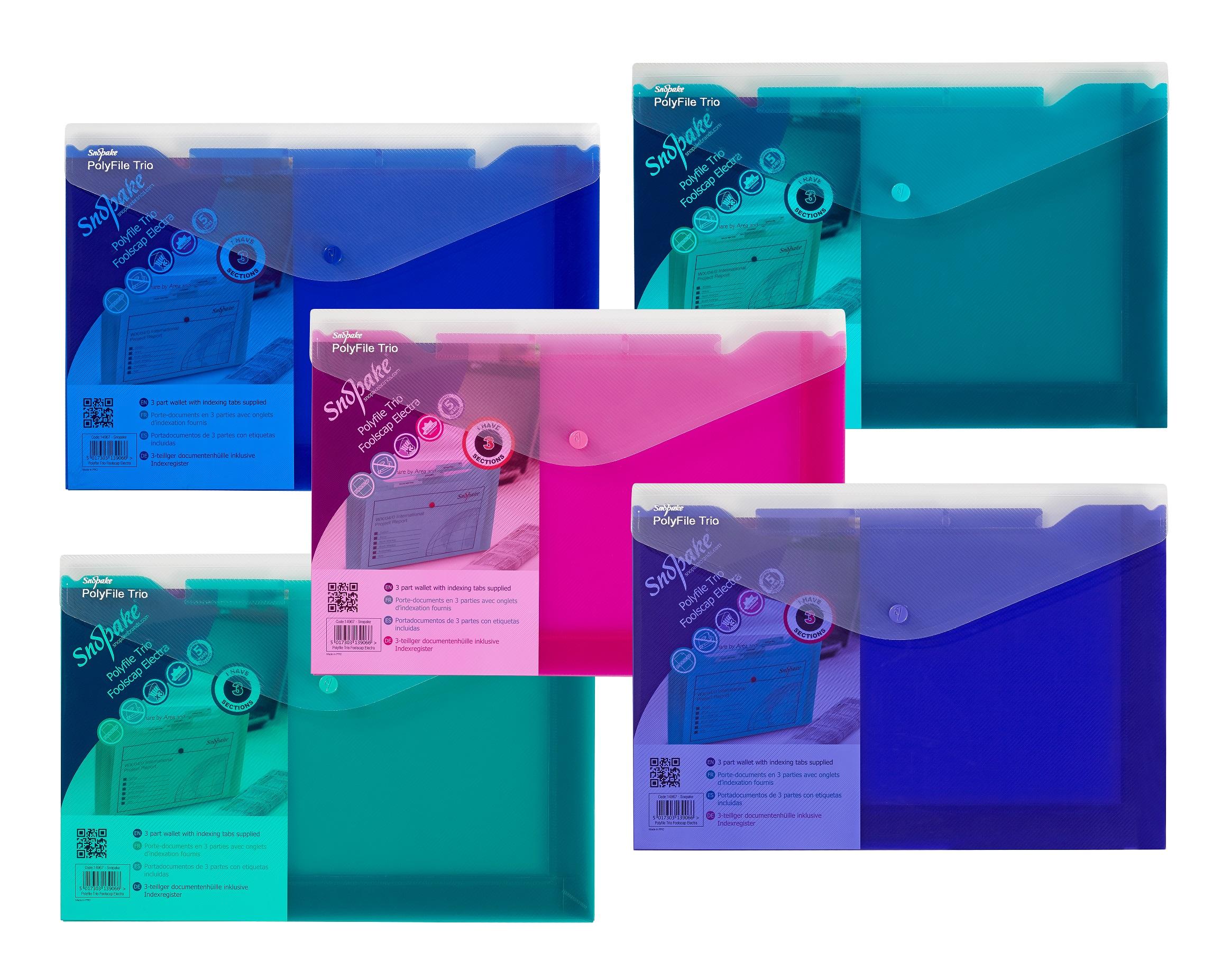 Snopake Polyfile Trio Wallet File Foolscap Elct Astd (PK5)