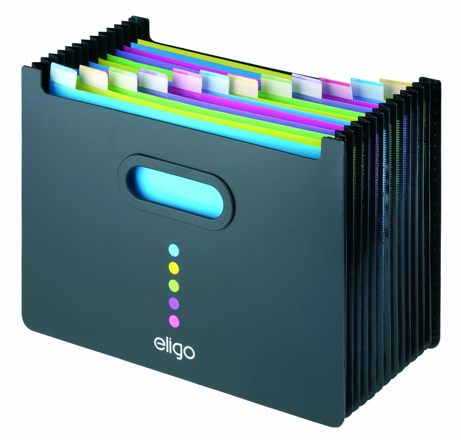Expanding Files Snopake Eligo Desk Expander 13-Parts Landscape Black