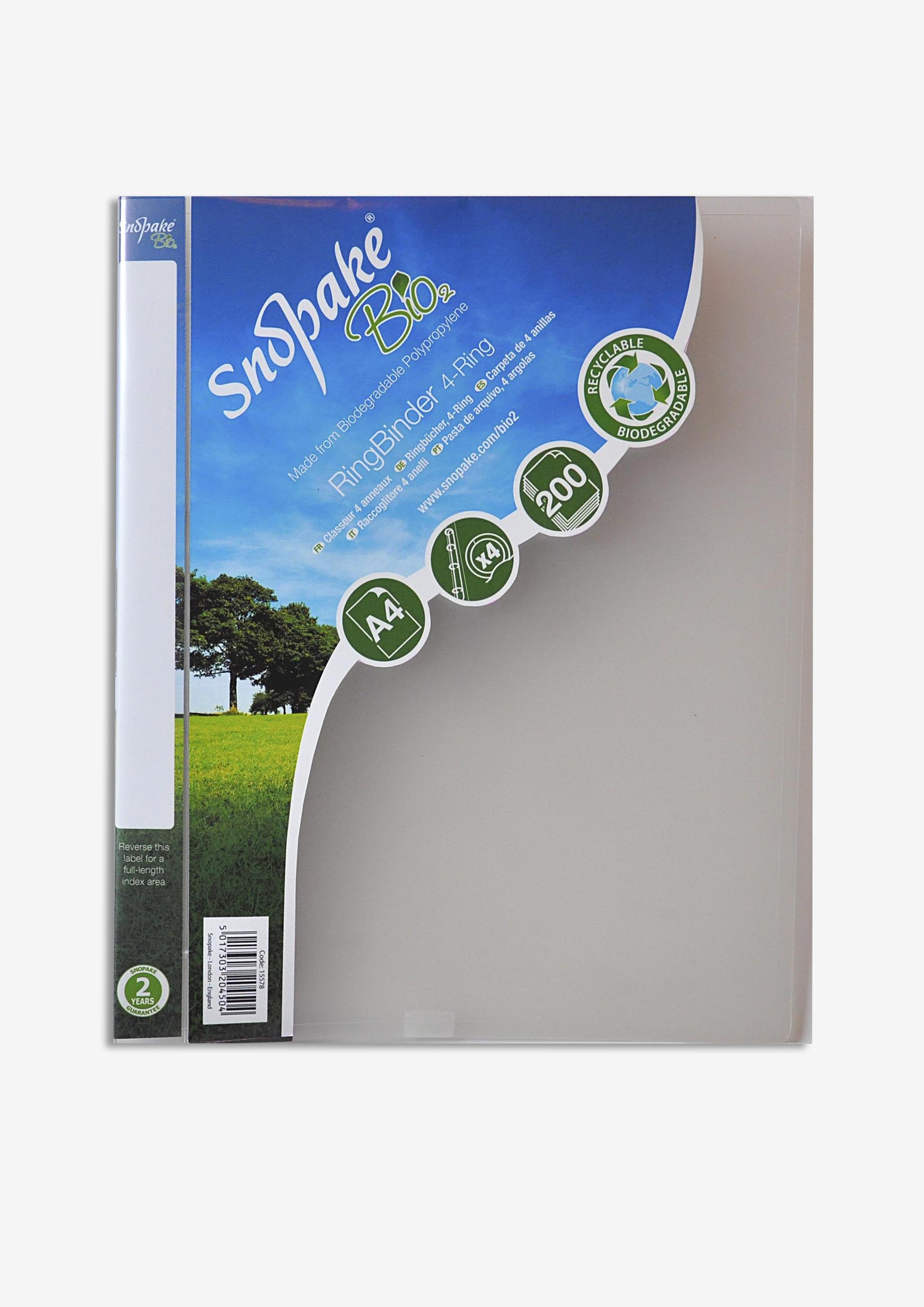 Snopake Bio2 Ring Binder Biodegradable Polypropylene 2 O-Ring Size 25mm A4 Clear Ref 15431 [Pack 10]