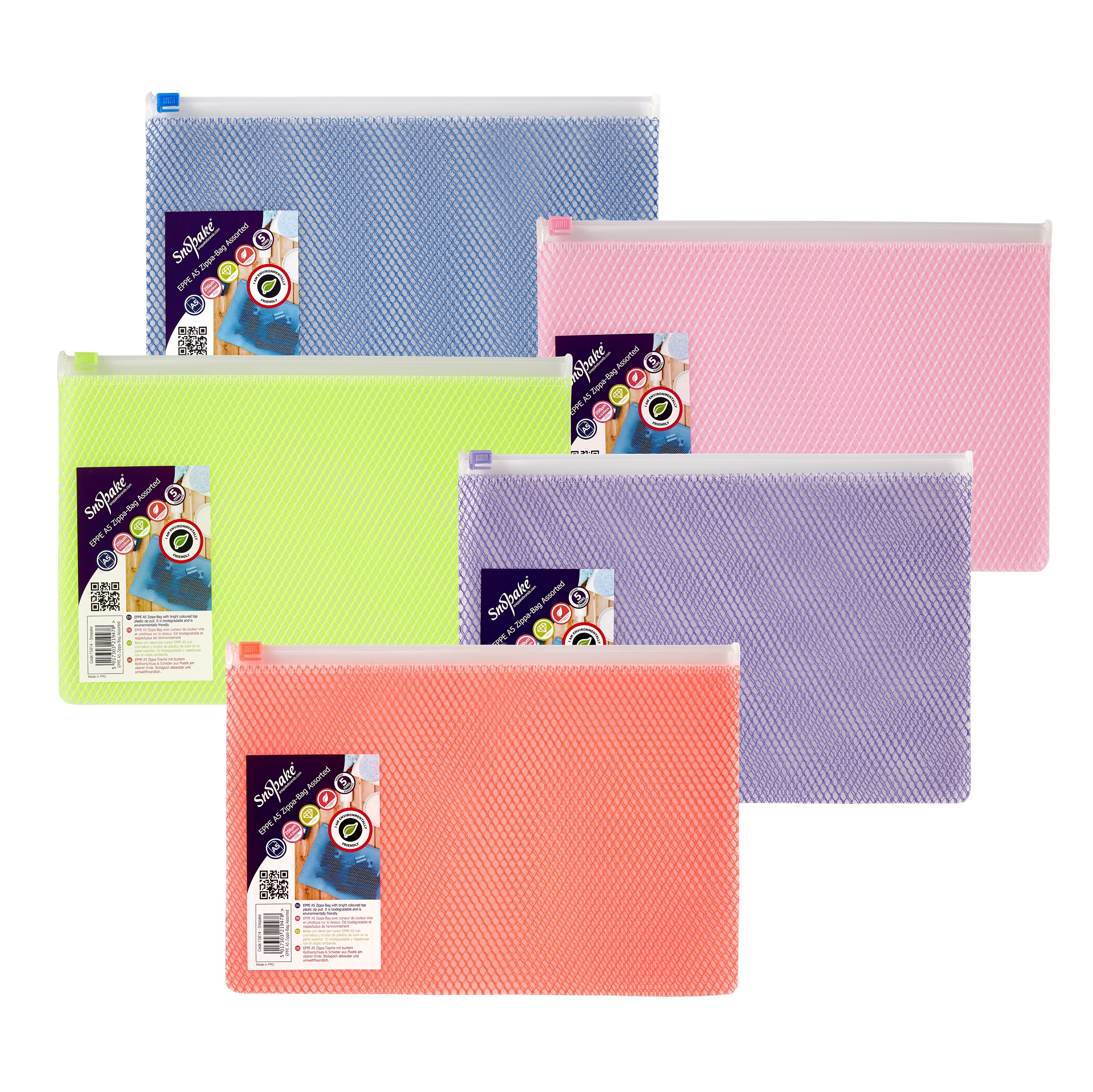 Zip Bags Snopake EPPE Zippa Bag A5 Assorted Pack 5
