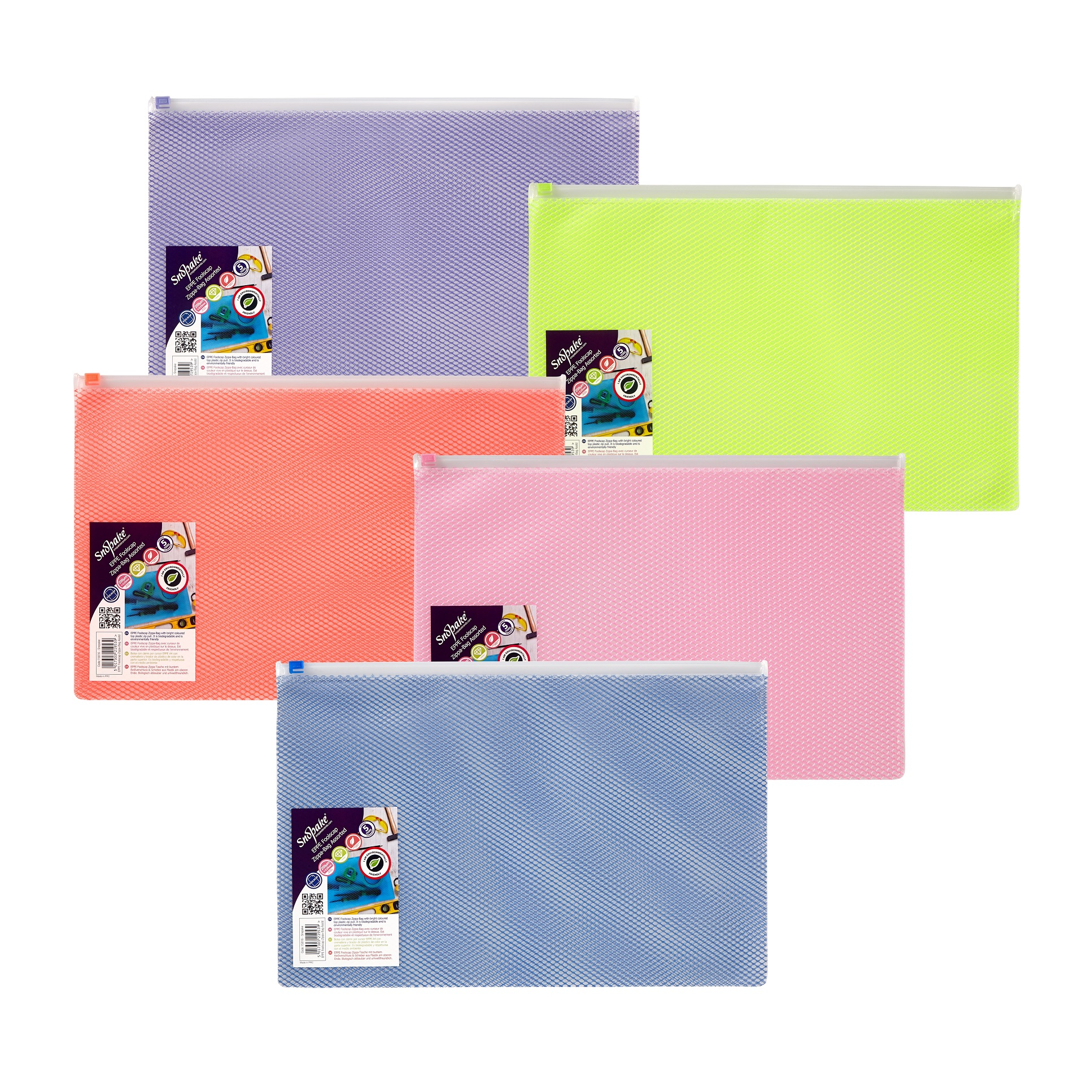 Zip Bags Snopake EPPE Zippa Bag Foolscap Assorted Pack 5