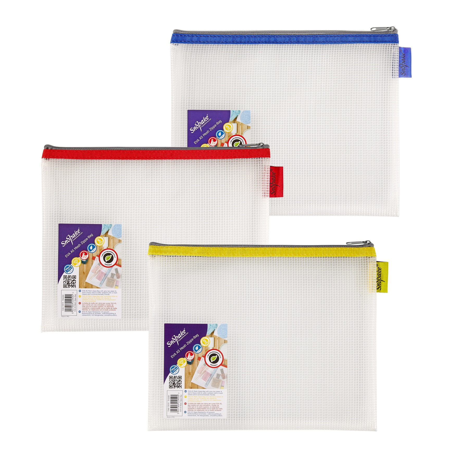 Snopake EVA Mesh Zippa Bag A5 Assorted Pack 3