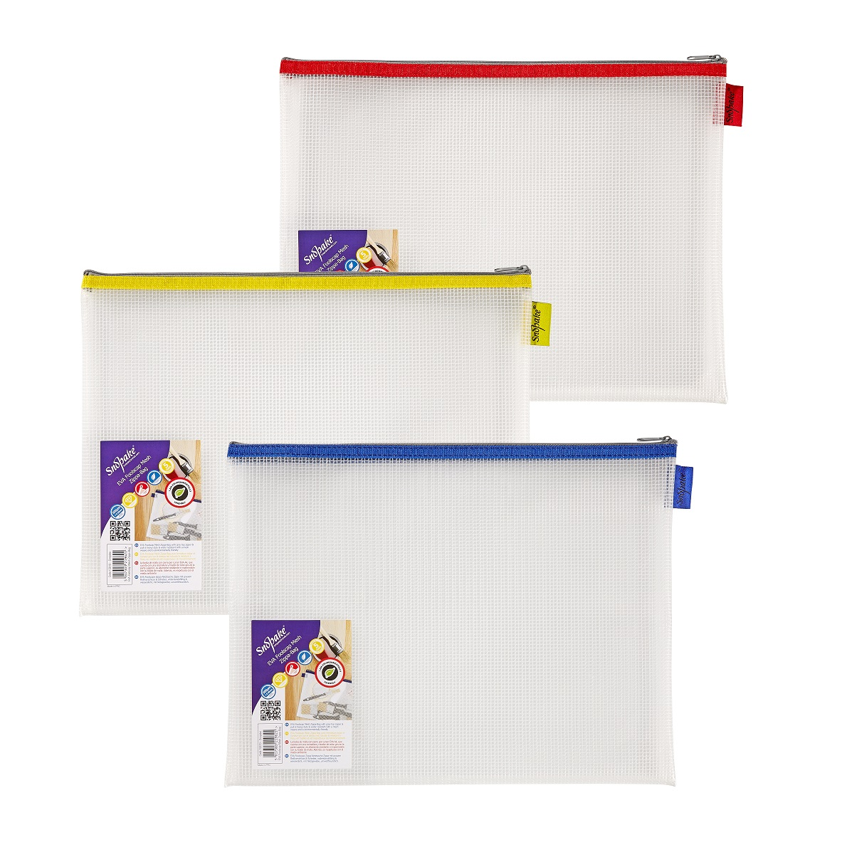 Snopake EVA Mesh Zippa Bag Foolscap Assorted Pack 3
