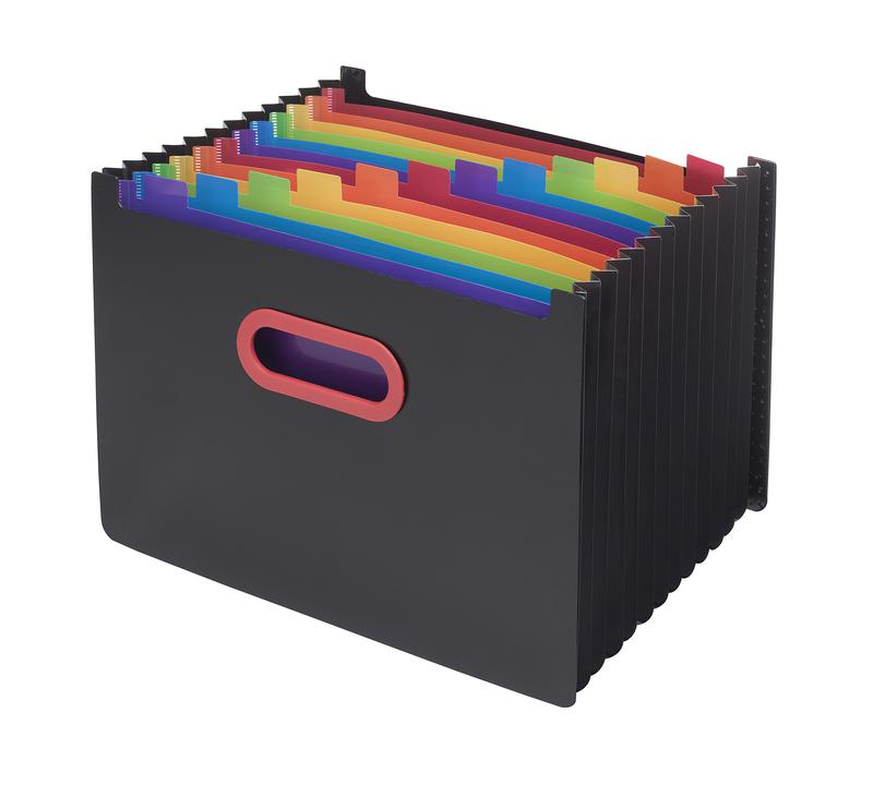 Expanding Files Rainbow & Black A4 13-Part Desk Expander