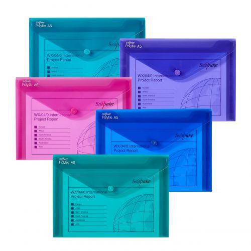 Snopake Polyfile Wallet File A5 Electra Astd PK5