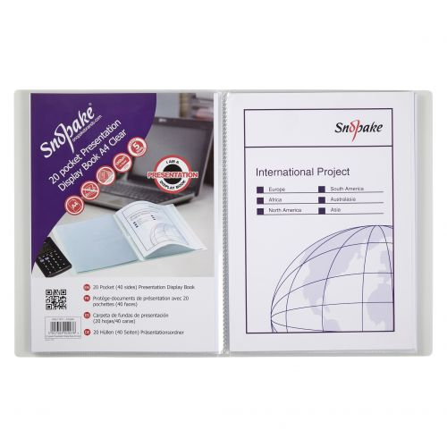 Snopake Superline Presentation Book 20 Pocket Polypropylene A4 Clear 11951