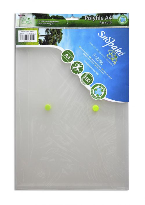 Snopake Bio Polyfile Wallet File A4 Clear PK5