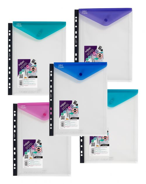 Snopake Polyfile Ring Binder Wallet High Capacity A4 Portrait Electra Assorted Ref 15695 [Pack 5]