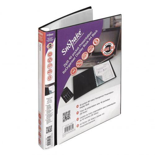 Snopake ReOrganiser Display Book A4 40 pocket Black