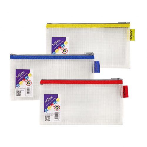 Snopake EVA Mesh Zippa Bag DL Assorted Pack 3
