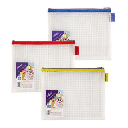 Snopake Mesh Zippa Bag EVA A5 300 Micron Assorted Colours (Pack 3)