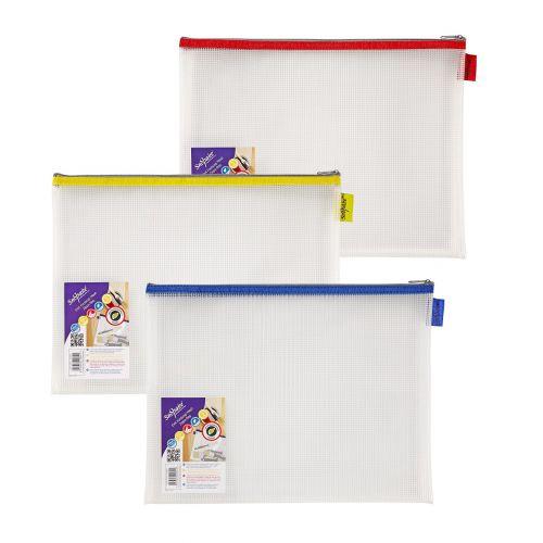 Snopake EVA Mesh Zippa Bag Foolscap Assorted Pack 3