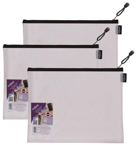 Snopake EVA Mesh Zippa Bag Foolscap Black Pack 3