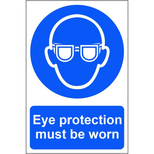 Self adhesive semi-rigid PVC Eye Protection Must Be Worn Sign (200x300mm). Easy to fix, simply peel off the backing and apply to a clean, dry surface.