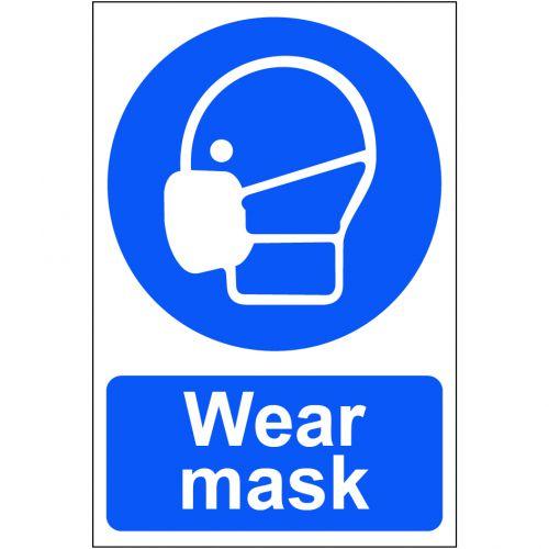 Wear Mask Sign, S/A Semi Rigid PVC