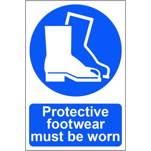 Self adhesive semi-rigid PVC Protective Footwear Must be Worn Sign (200 x 300mm). Easy to fix  peel