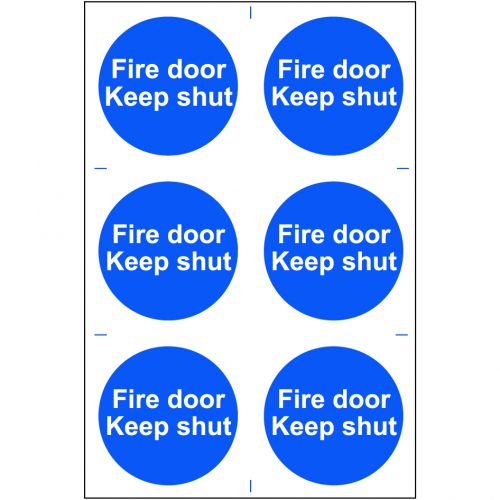 Self adhesive semi-rigid PVC Fire Door Keep Shut Sign (200 x 300mm). Easy to fix, peel off the backing and apply.