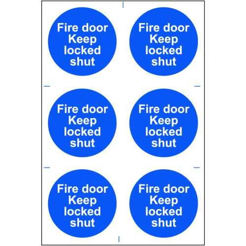 Self adhesive semi-rigid PVC Fire Door Keep Locked Shut Sign (200 x 300mm). Easy to fix, peel off the backing and apply.