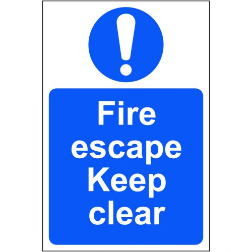 Self adhesive semi-rigid PVC Fire Escape Keep Clear Sign (200 x 300mm). Easy to fix  peel off the ba