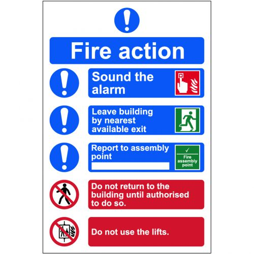Self adhesive semi-rigid PVC Fire Action Procedure Sign (200 x 300mm). Easy to fix, peel off the backing and apply.