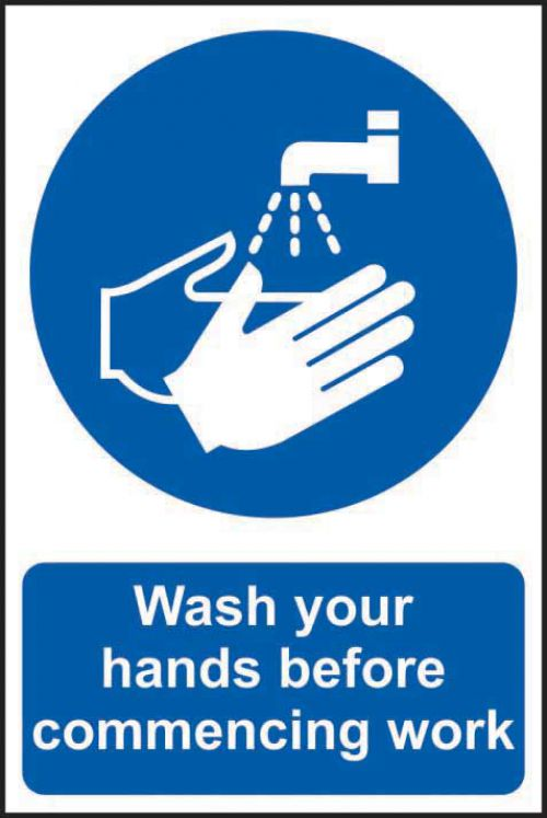 Self adhesive semi-rigid PVC Wash Your Hands Before commencing Work Sign (200 x 300mm). Easy to fix, peel off the backing and apply to a clean and dry