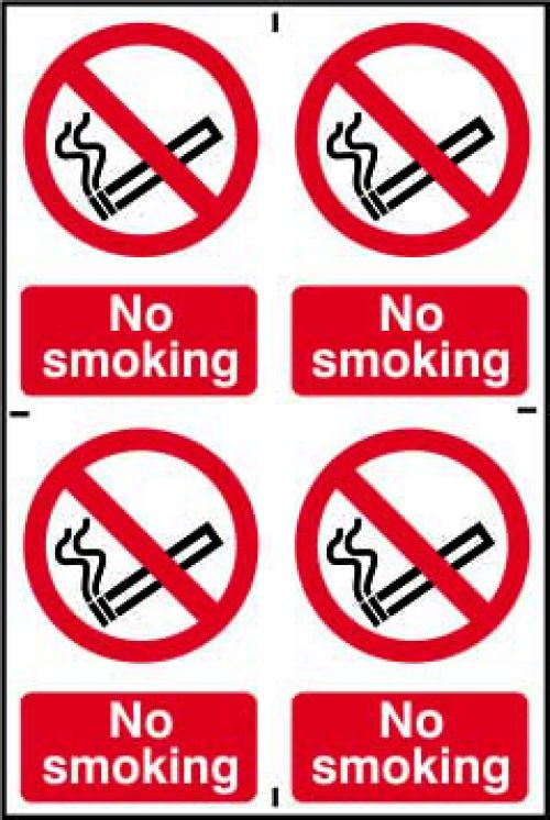 Self adhesive semi-rigid PVC No Smoking Sign (200 x 300mm). Easy to fix, simply peel off the backing and apply to a clean dry surface.