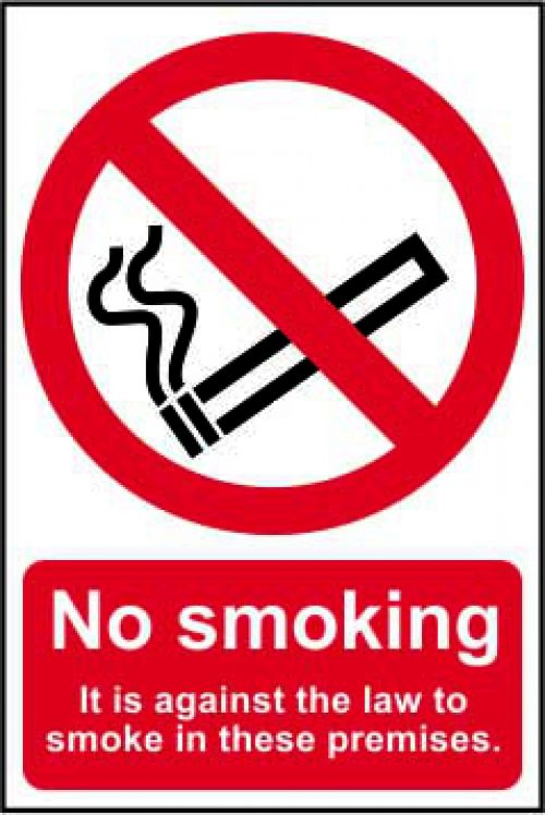 Self adhesive semi-rigid PVC No Smoking (Against the law) Sign (200x300mm). Easy to fix, simply peel off the backing and apply to a clean dry surface.