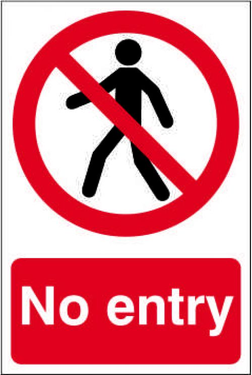 Self adhesive semi-rigid PVC No Entry Sign (200 x 300mm). Easy to fix  simply peel off the backing a